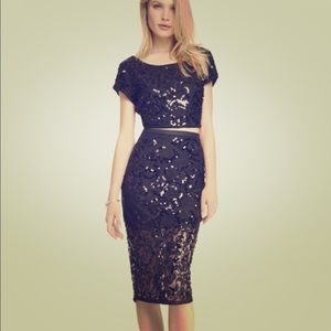 Express sequin 2 piece skirt and top NWT small